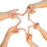 Hände der Teamwork, die Sternform bildend lizenzfreie stockbilder