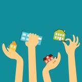 Hände der Verkäufer oder der Käufer erreichen verschiedenes nettes Stockfotos