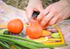 Hände des Chefs eine Tomate schneiden Lizenzfreies Stockfoto