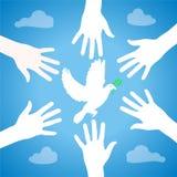 Hände des Friedens lizenzfreie abbildung