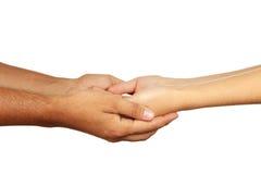 Hände des Mann- und Frauenzusammenhaltens Stockbild