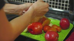 Hände des waschenden Gemüses der Frau an ihrer Küche stock video