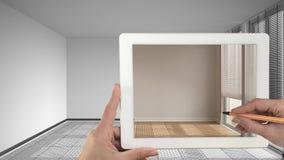 Hände, die auf die Tablette zeigt wirkliches fertiges interi halten und zeichnen stockfotos