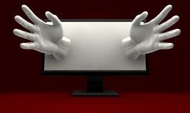 Hände, die aus Computerüberwachungsgerät heraus erreichen Stockfotos