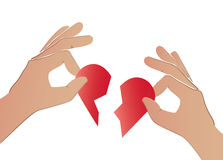 Hände, die das rote Herz gebrochen halten Lizenzfreies Stockfoto