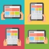Hände, die digitale Tablette, entgegenkommendes Design halten stock abbildung