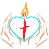 Hände, die ein Herz mit einem Kreuz und einer Flamme halten lizenzfreie abbildung