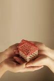 Hände, die ein kleines Haus anhalten Lizenzfreies Stockfoto
