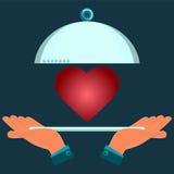 Hände, die eine Umhüllungsplatte mit einem roten Herzen halten vektor abbildung
