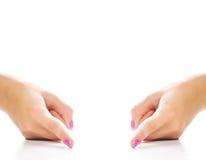 Hände, die einen Abstand zeigen Lizenzfreies Stockbild