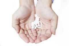 Hände, die einen behinderten Menschen schützen Lizenzfreies Stockfoto