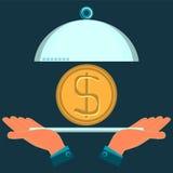 Hände, die einen Servierteller mit einer Golddollarmünze halten lizenzfreie abbildung