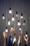 Hände, die für Glühlampen erreichen Stockfoto