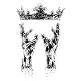Hände, die für Krone erreichen Stockfotos