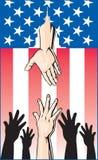 Hände, die für Regierungs-Mitteilungsblatt erreichen stock abbildung