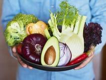 Hände, die große Platte mit unterschiedlichem frischem Bauernhofgemüse halten Au lizenzfreie stockfotos