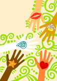 Hände, die Hilfsgruß-Karte geben Stockfoto