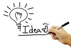 Hände, die Ideenarbeit auf Weißbuch schreiben Lizenzfreies Stockfoto