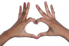 Hände, die Innerform bilden Stockfotos