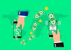 Hände, die intelligente Telefone mit Bankwesenzahlung apps halten Auch im corel abgehobenen Betrag lizenzfreie abbildung