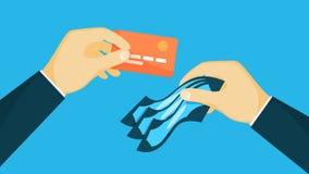 Hände, die Kreditplastikkarte und -geld halten vektor abbildung
