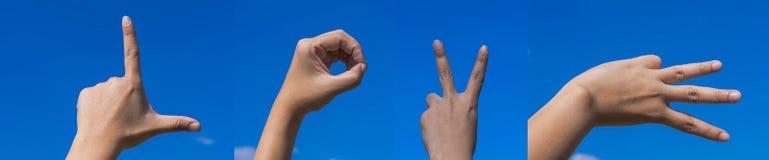 Hände, die LIEBES-Charakter für Liebe bilden Lizenzfreie Stockbilder