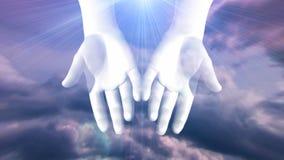 Hände, die mit hellen Strahlen sich öffnen stock abbildung