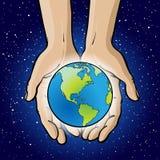Hände, die Planeten schaukeln. Stockfotografie