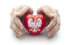 Hände, die polnisches Wappen bedecken Lizenzfreies Stockfoto