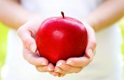 Hände, die roten Apfel anhalten lizenzfreies stockfoto