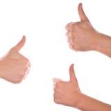Hände, die sich Daumen zeigen Lizenzfreies Stockfoto