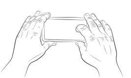 Hände, die Smartphone halten und Videozeichnung notieren Stockfotos