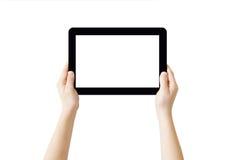 Hände, die Tablette anhalten Lizenzfreies Stockbild