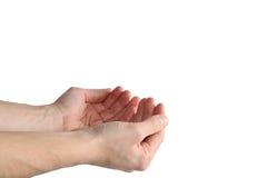 Hände, die unsichtbare Nachricht anhalten Stockfotos