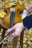 Hände, die Violine vorbereiten Stockbilder