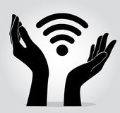 Hände, die Wifi-Ikonen-Symbolvektor halten Lizenzfreie Stockbilder