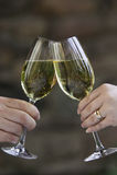 Hände, die zwei Gläser Weißwein klirren. Stockbilder