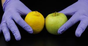 Hände Doktors mit Apfel und Zitrone auf schwarzem Hintergrund stockfotografie