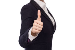 Hände in einem Anzug, der sich Daumen zeigt Stockfotografie
