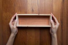 Hände einer Frau zwei halten eine leere geöffnete Holzkiste Lizenzfreies Stockbild