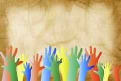 Hände in einer Masse stock abbildung