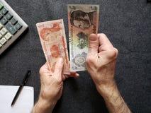 Hände eines älteren Mannes, der honduranische Banknoten zählt lizenzfreie stockfotografie