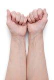 Hände eines älteren Mannes, Kurzschluss einer Faust Stockbilder