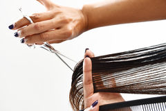 Hände eines Friseurszutathaares mit einem Kamm und Scheren Lizenzfreie Stockbilder