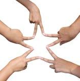 Hände in Form eines Sternes Lizenzfreie Stockfotos