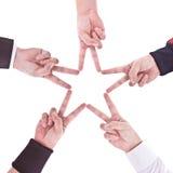 Hände in Form eines Sternes stockfotografie