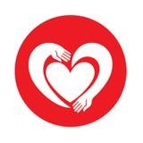 Hände in Form von Innerem Negative Raumart der Herz-Logodesignvektorschablone Spendenidee Rote Rose Lizenzfreies Stockfoto