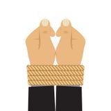 Hände gebunden durch ein Seil Stockfotografie