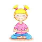 Hände gezeichnete Illustration des jungen lächelnden Mädchens im rosa T-Shirt Lizenzfreies Stockfoto