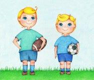 Hände gezeichnete Illustration von zwei Jungen amerikanisch und von europäischen Fußballspielern Lizenzfreies Stockbild